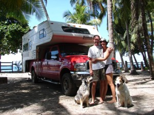 Mark, Darwin, Kali and I in front of our truck camper we traveled and lived a year in throughout Mexico and Central America