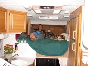 The roomy bed in our camper, in which we lived and traveled for a year