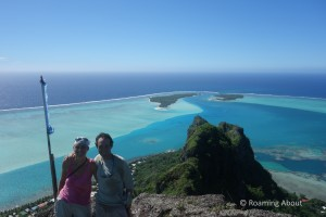 Mark and I on top of the world in gorgeous Maupiti