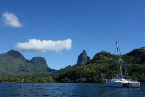 Anchored in pretty Moorea, French Polynesia