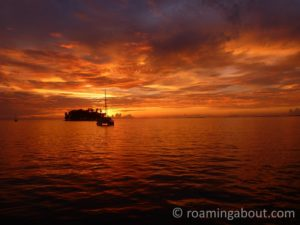 Sunset at sea in the western Caribbean