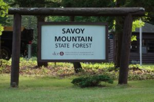 Sign at the park entrance, a few miles off Route 2 (Mohawk Trail)